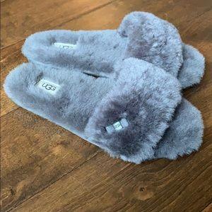 NIB UGG Grey Fluff Slide Slippers